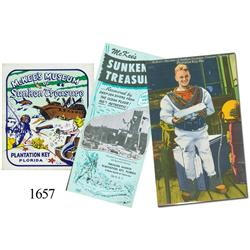 Lot of 1 brochure, 1 postcard and 1 luggage sticker pertaining to Art McKee's Museum of Sunken Treas