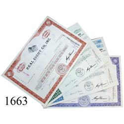 Lot of 4 Real Eight Co. stock certificates (one of each color).