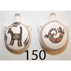 TWO ACOMA POTTERY CANTEENS