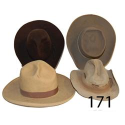 FOUR WESTERN HATS
