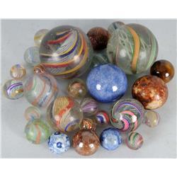 Lot of 28: German Handmade Marbles.