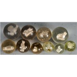 Lot of 10: Sulphide Marbles.