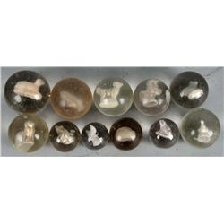 Lot of 11: Sulphide Marbles.
