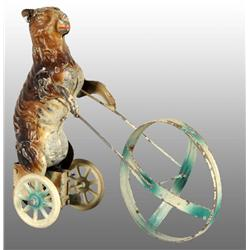 Tin Hand-Painted Rabbit Pushing Hoop Wind-Up Toy.