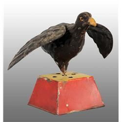 Tin Hand-Painted Hawk Wind-Up Toy on Base.