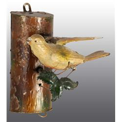 Tin Hand-Painted Bird on Log Wind-Up Toy.