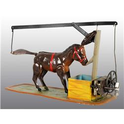 Tin Hand-Painted Donkey Wind-Up Toy.