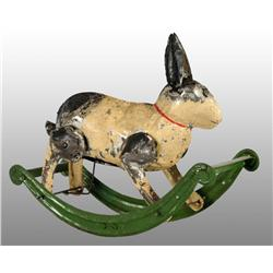 Tin Hand-Painted Rabbit on Rocker Wind-Up Toy.