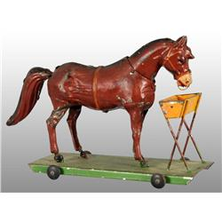 Tin Hand-Painted Horse Platform Wind-Up Toy.
