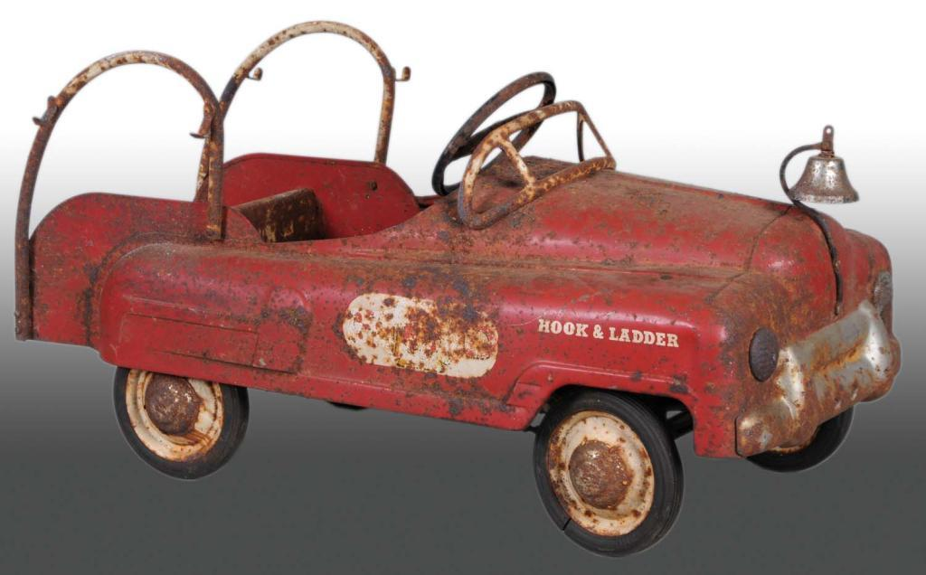Fire Truck Pedal Car: Pressed Steel BMC Fire Truck Pedal Car