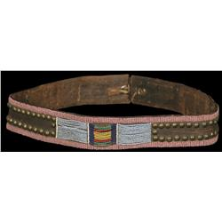 Crow Beaded and Tacked Panel Belt