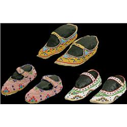 Three Pairs of Sioux Moccasins