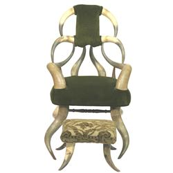 Child's Horn Chair with Foot Rest