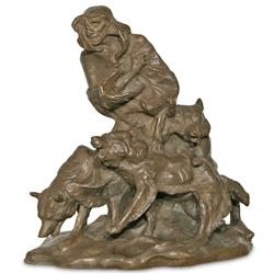 Charles M. Russell, bronze sculpture