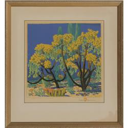 Gustave Baumann, colored woodblock print