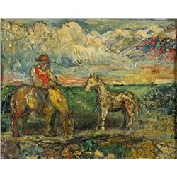 David Burliuk (Russian, 1882-1967) Man with Two Horses, Oil on ca