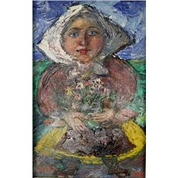 David Burliuk (Russian, 1882-1967) Peasant Woman, Oil on board,