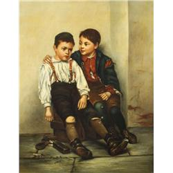After John George Brown (Ameican, 1831-1913) Shoe Shine Boys, Oil