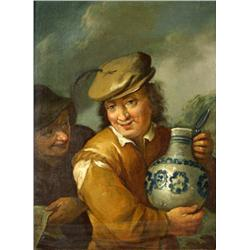 After Frans Hals (Dutch, 1582-1666) Man Holding a Jug, Oil on woo