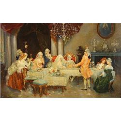 After Pablo Salinas (Spanish, 1871-1946) Dinner Party, Oil on can