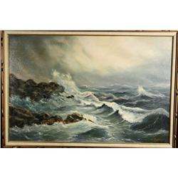 V. Sprogis, Seascape, Oil on canvas,