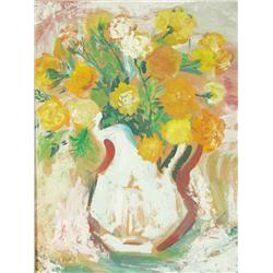 "C. Moros, ""Vase with Flowers"" Oil on canvas."