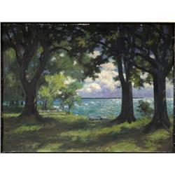 M. Schulz, Landscape, Oil on artist board,