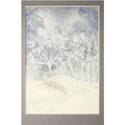 Milenios (Cleveland) Winter Scene, Watercolor on paper