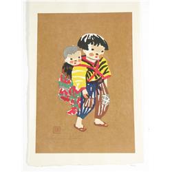 Kiyoshi Saito (Japanese, 1907-1997) Girl with Doll, Wood block.
