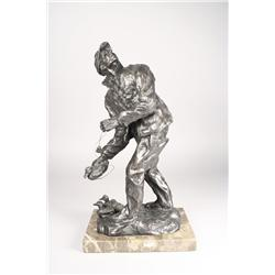 Laurence Isard (Cleveland, 1932-) Off Guard, Bronze. Signed Isard