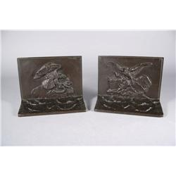 Antoine-Louis Barye (French, 1795-1875) Bronze Bookends Depicting
