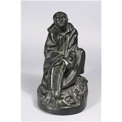 Artist Unknown, A Copper and Plaster Figure Seated Monk with Skul