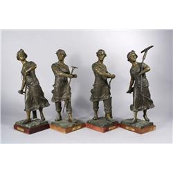 A Group of Four French Spelter Figures Titled Faneur, Semeuse, L'