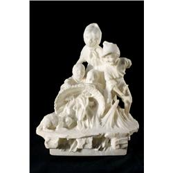 19th Century Russian School, Carved Marble Figural Group, Depicti