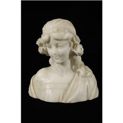 An Early 20th Century Italian Carved Parian Marble Bust of a Woma