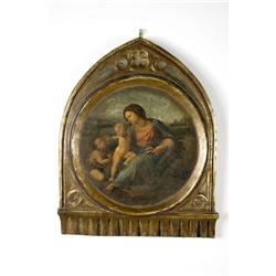 A Reproduction Printed Plaster Portrait Depicting Mary and Child.