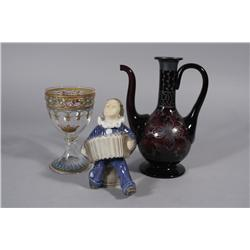 A Collection of Continental Enamel Glass Decorative Items,