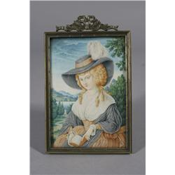 A Continental Miniature Portrait on Faux Ivory Depicting a Lady R
