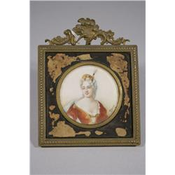 A Continental Miniature Portrait on Simulated Ivory