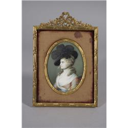 A Continental Miniature Portrait on Simulated Ivory Depicting Mrs