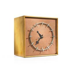 George Nelson & Associates Calfskin face table clock, model 4761