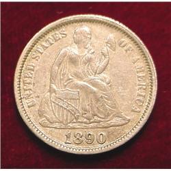 1890 P Seated Liberty Dime AU