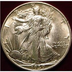 1939 D Walking Liberty Half Dollar. Ch. AU.