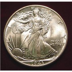 1943 P Walking Liberty Half Dollar. Superb