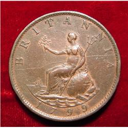 1799 British Half Penny. VF+.