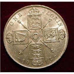 1913 British Florin AU. Catalog $100 in Unc