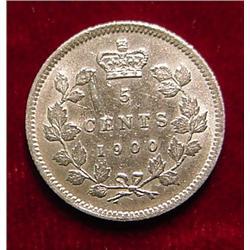 1900 Canada 5c Silver AU but scrape to left