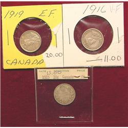 Canada .10c lot. 1915 VG, 16 VF, 19 EF