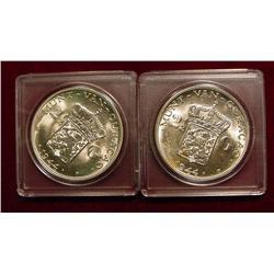 Lot of 2 Ch BU 1944D Curacao 2 1/2 gulden
