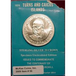 1974 Turks & Caicos Islands Sterling Silver